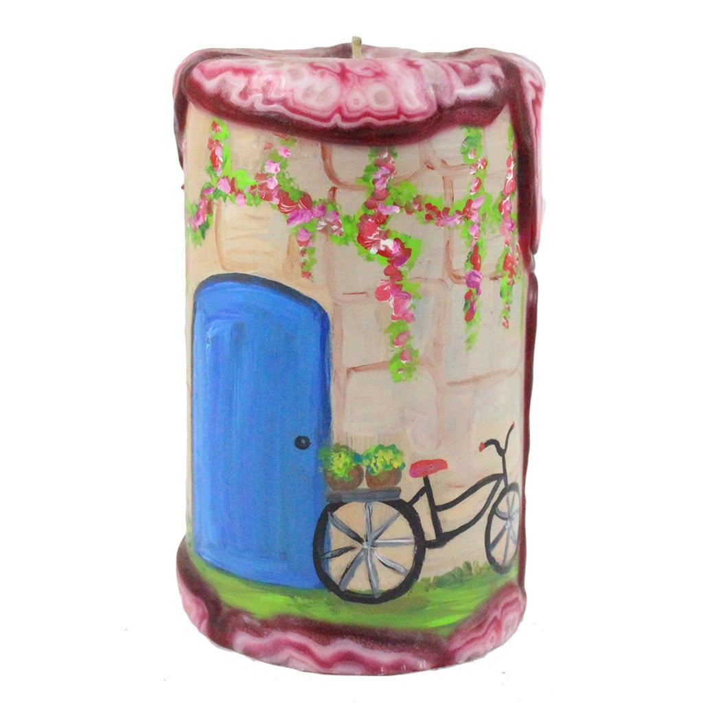 Painted Pillar Candle - Blue Door With Bike - Candlestock.com
