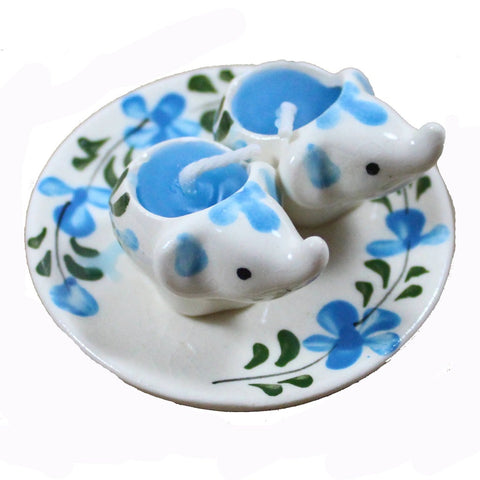 Ceramic Baby Elephants On A Tray Double Candle - Candlestock.com
