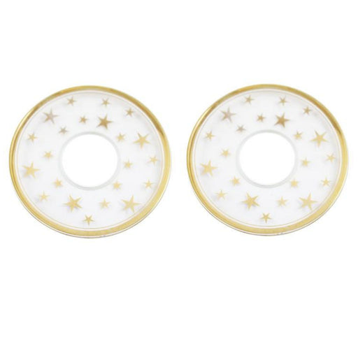 Bobeche Clear Glass With Gold Stars