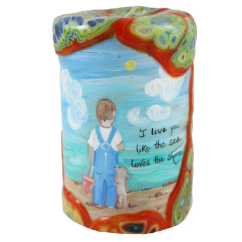 "Painted Veneer Pillar Candle - ""I love you like the sea loves the shore."" 4X6 - Candlestock.com"