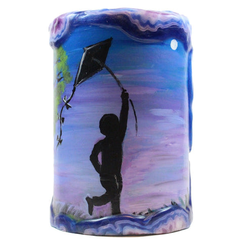 Painted Silhouette Pillar - Boy With A Kite - Candlestock.com