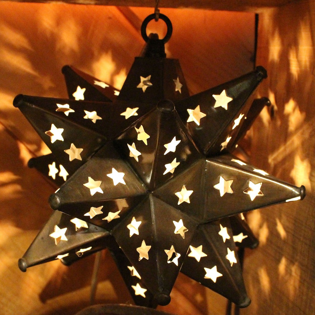 Bronze Metal Hanging Star Lamp With Star Cutouts