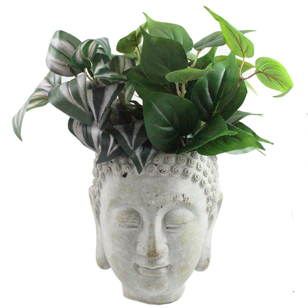Cement Buddha Head Planter - Candlestock.com