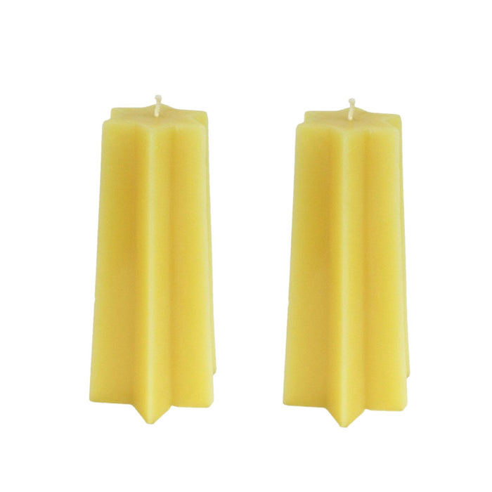 Beeswax Tapered  Star Pillar Candle Sets - 6 Point