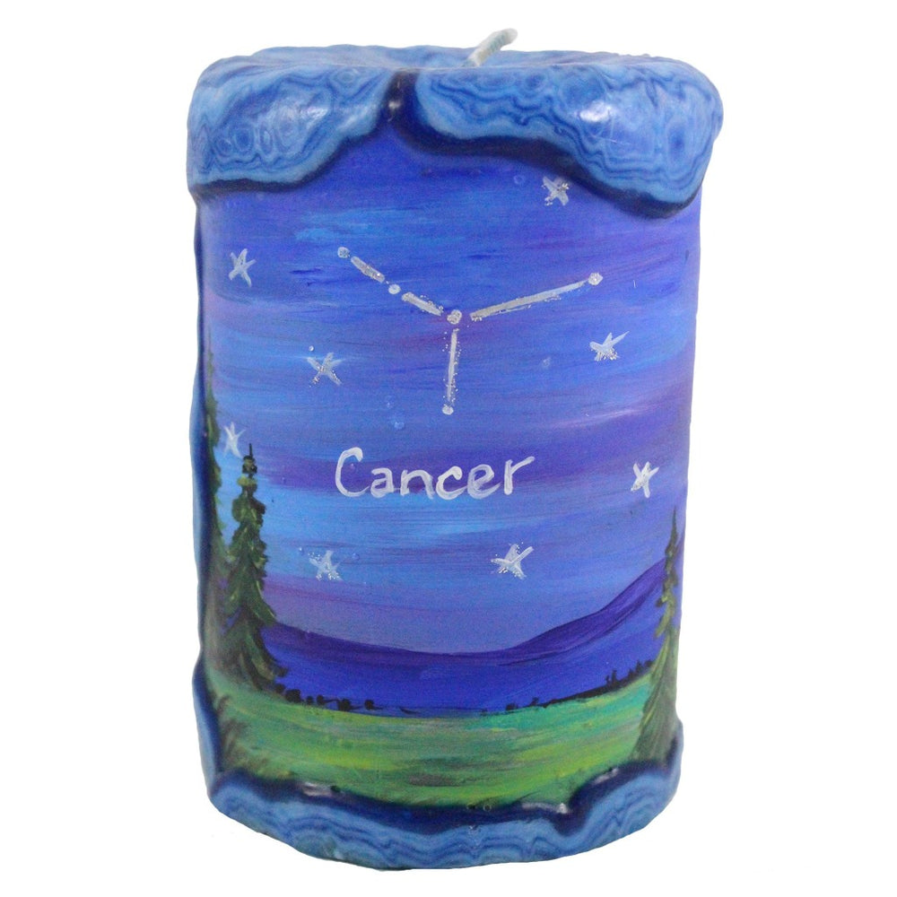 Cancer Painted Veneer Zodiac Pillar Candle - Candlestock.com