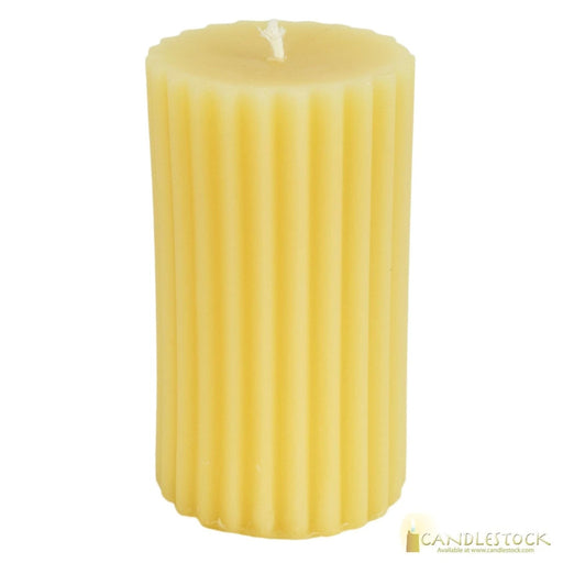 Beeswax Fluted Pillar Candle - Candlestock.com