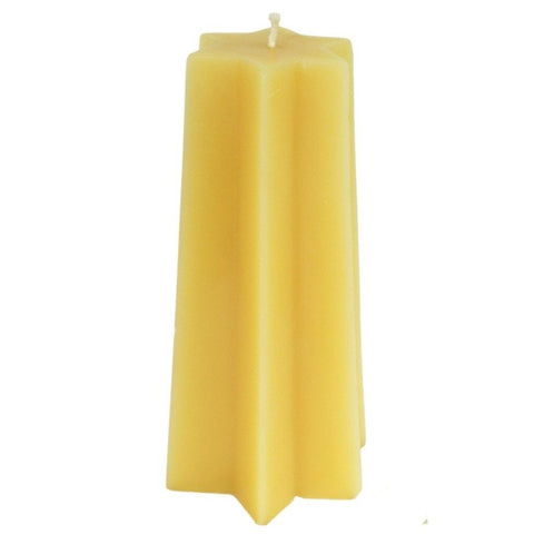 Beeswax Tapered  Star Pillar Candle - 6 Point - Candlestock.com