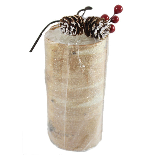Frosted Birch Wood Designed Pillar Candle
