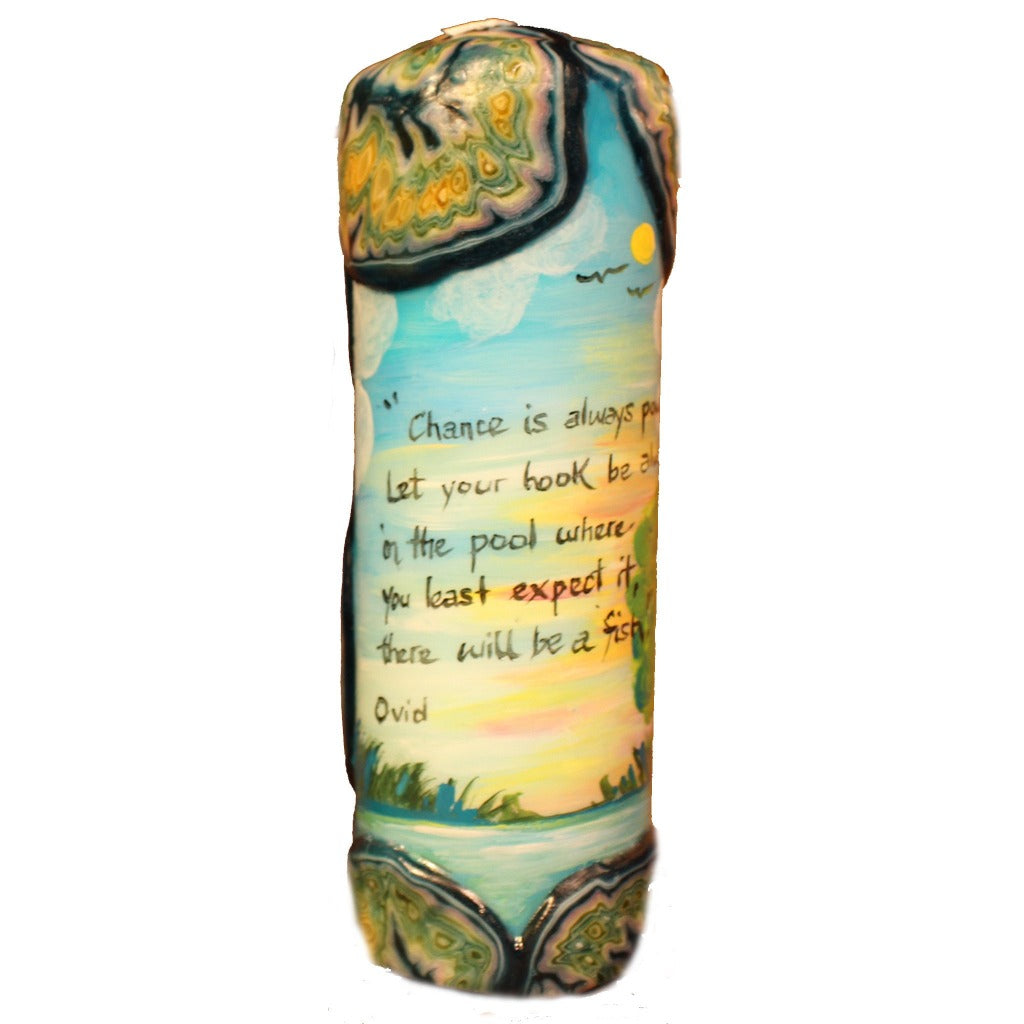 "Quote Pillar Candle - ""Chance is always powerful. Let your hook be always cast; in the pool where you lease expect it, there will be fish."" Ovid - Candlestock.com"
