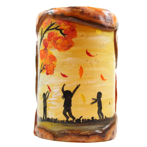 Painted Silhouette Pillar - Children With Fall Leaves - Candlestock.com
