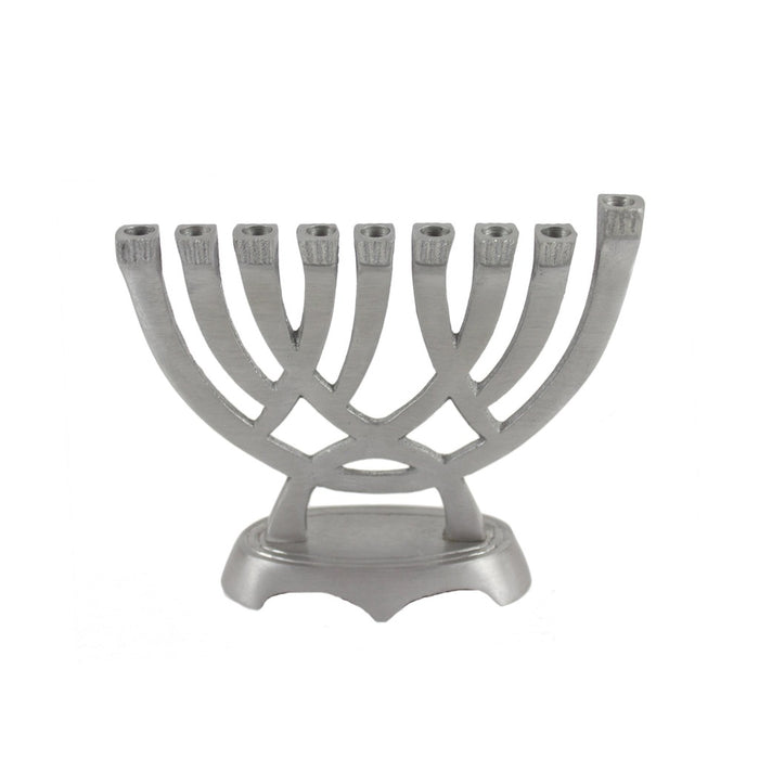 Traditional Silver Metal Menorah - 5 inches - Candlestock.com