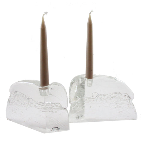 Clear Glass Bud Taper Candle Holder - Candlestock.com
