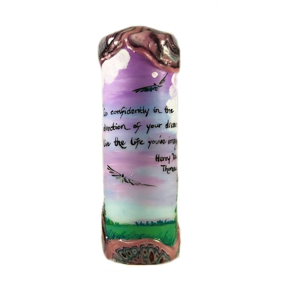 "Quote Pillar Candle - ""Go confidently in the direction of your dreams"" Henry David Thoreau"