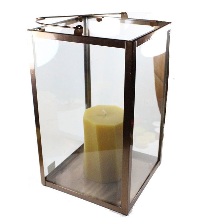 Copper Frame And Glass Rectangular Hanging Candle Lantern - Candlestock.com