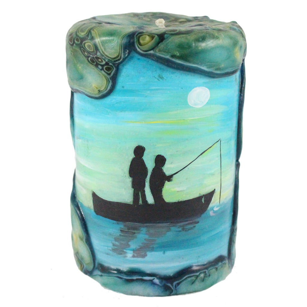 Painted Silhouette Pillar - Couple Fishing - Candlestock.com