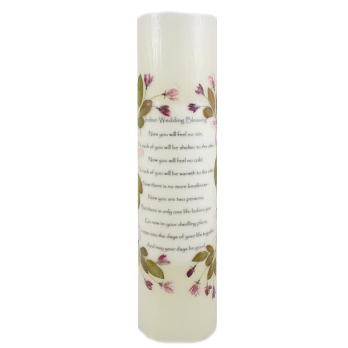 Beeswax Indian Wedding Pillar Candle - 12 inches