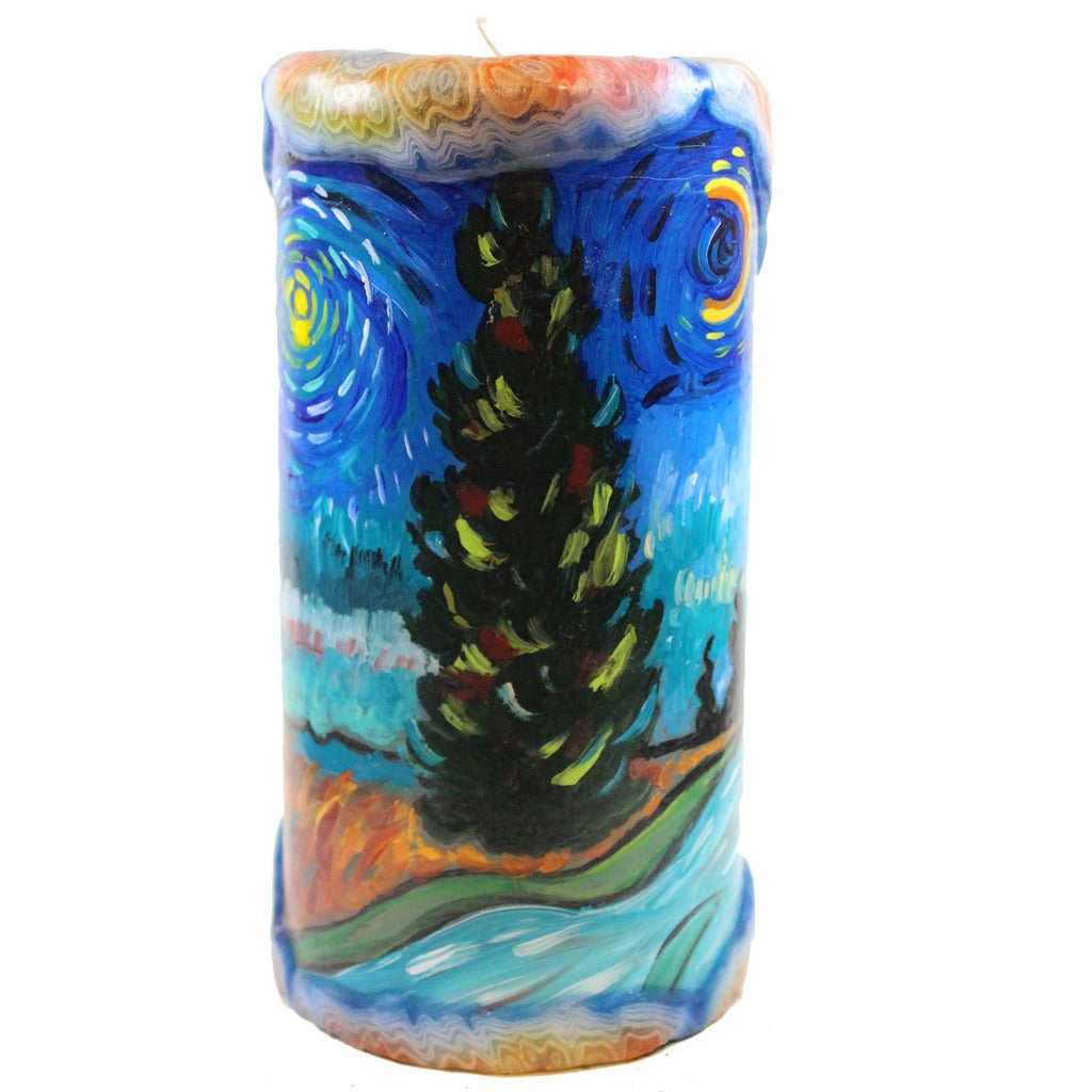 Van Glow Painted Pillar Candle - Road With Cypress Tree And Star - Candlestock.com