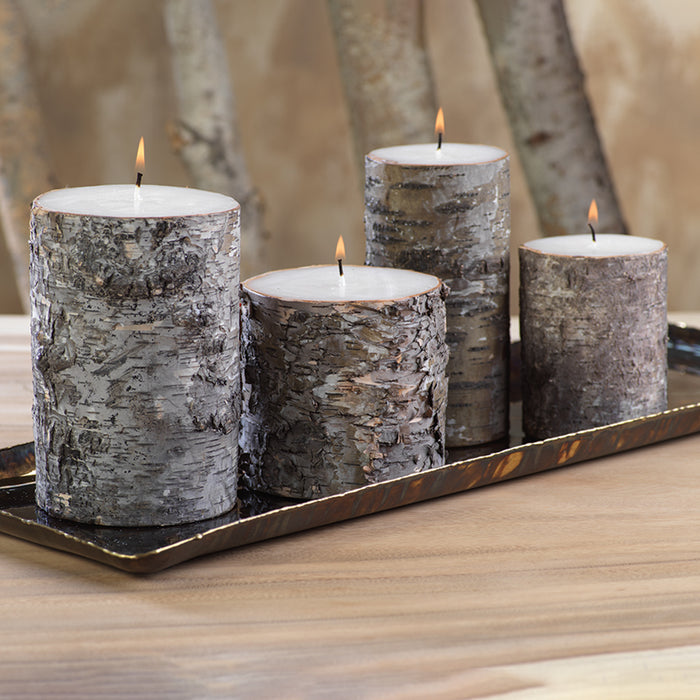 Dark Birchwood Wrapped Pillar Candle