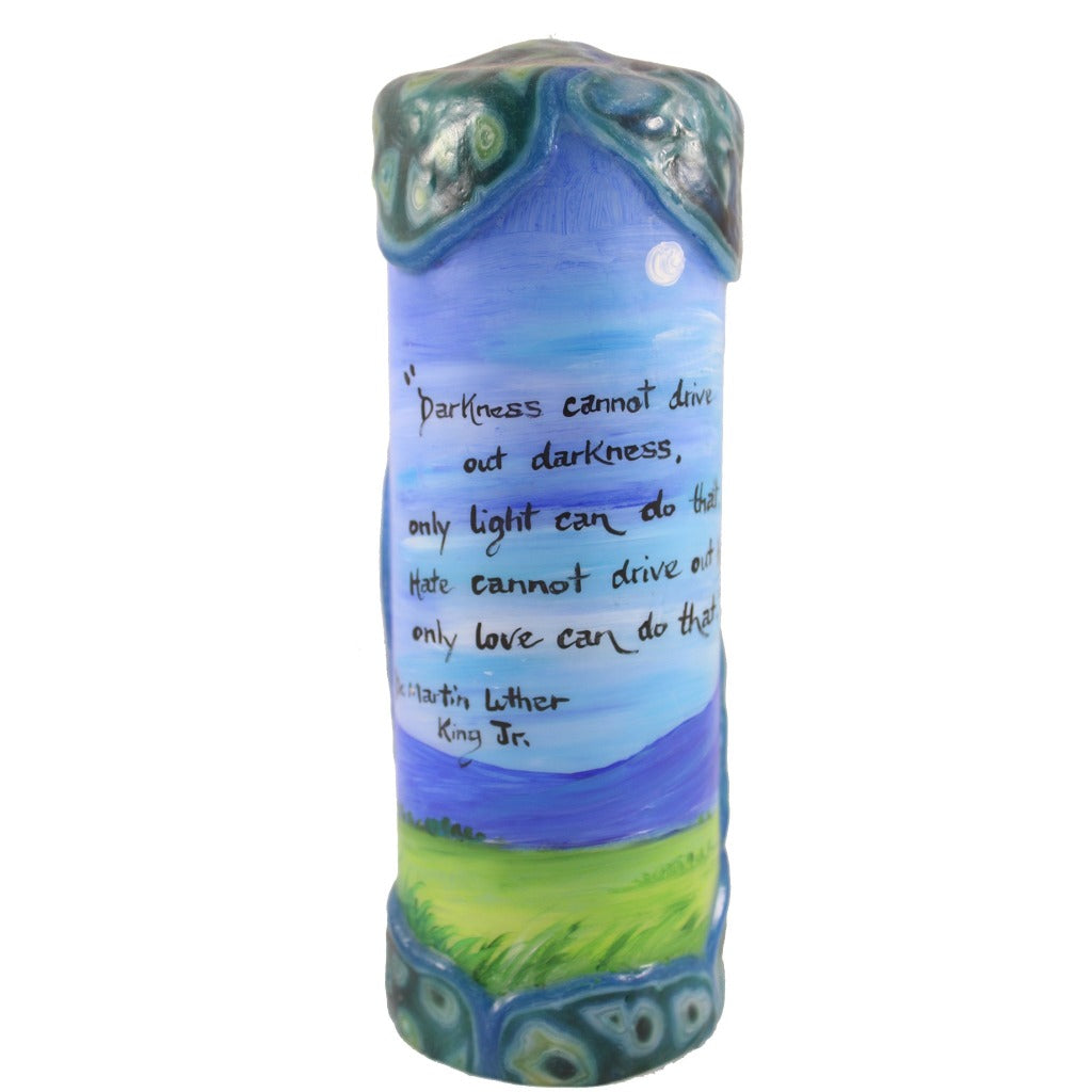 "Quote Pillar Candle - ""Darkness cannot drive out darkness; only light can do that. Hate cannot drive out hate; only love can do that."" Dr. Martin Luther King Jr. - Candlestock.com"
