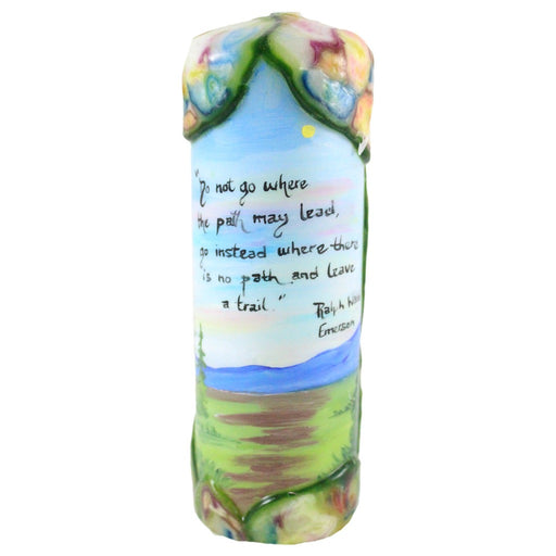 "Quote Pillar Candle - ""Do not go where the path may lead, go instead where there is no path and leave a trail"" Ralph Waldo Emerson - Candlestock.com"