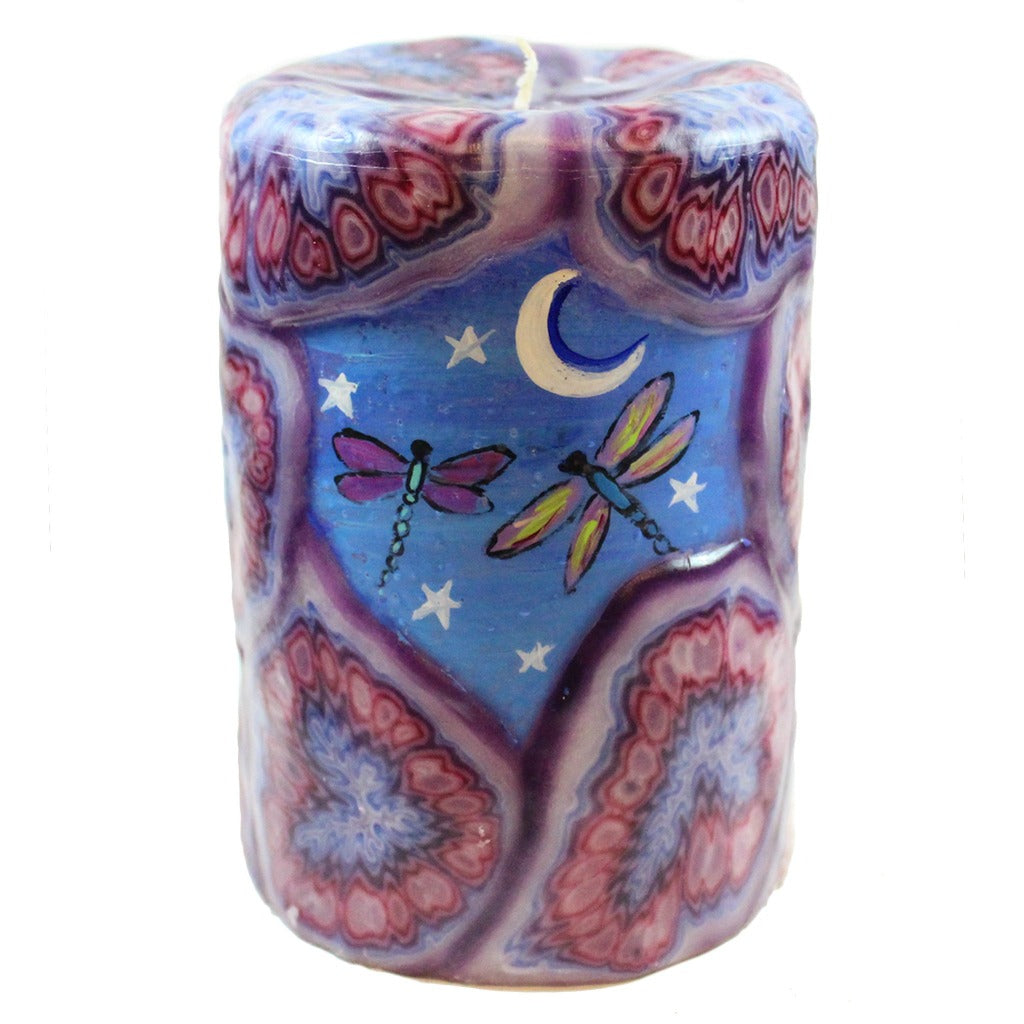 Painted Veneer Pillar Candle - Two Dragonflies And The Moon - Candlestock.com