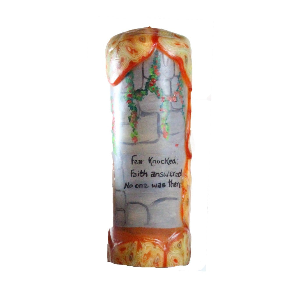 "Quote Candle - ""Fear knocked; Faith answered. No one was there."""