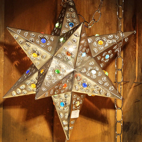 Tin Fiesta Star Lamp With Multi Colored Marbles In Multiple Colors