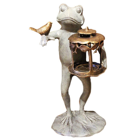 Green Metal Frog With Lantern And Bird Candle Holder - Candlestock.com