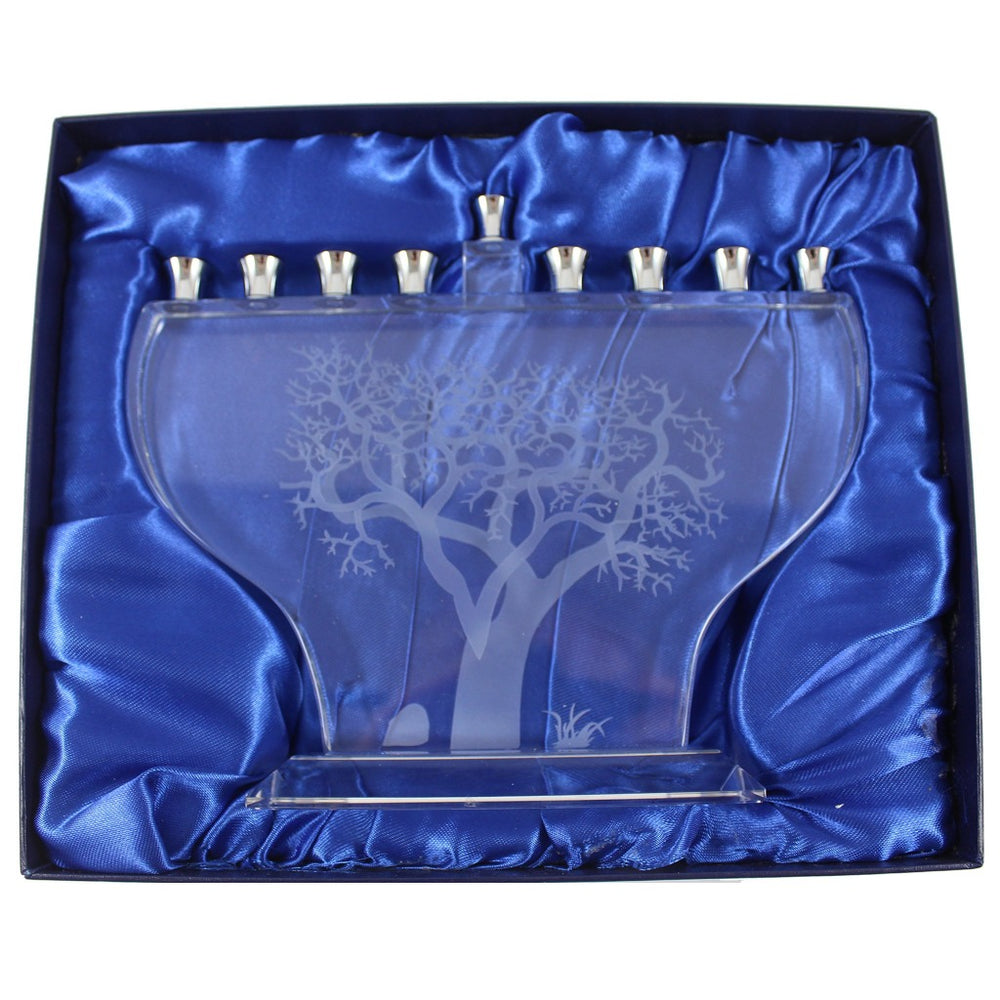 Clear Glass With Frosted Tree Of Life Menorah - Candlestock.com