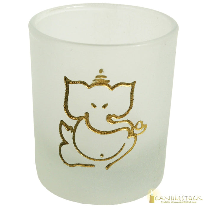 Frosted Glass Ganesha Votive Candle Holder - Candlestock.com