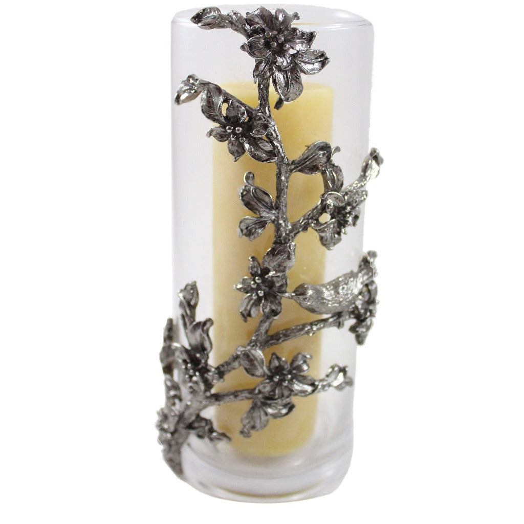 Glass Hurricane with Metal Floral Wrap Pillar Candle Holder - Candlestock.com