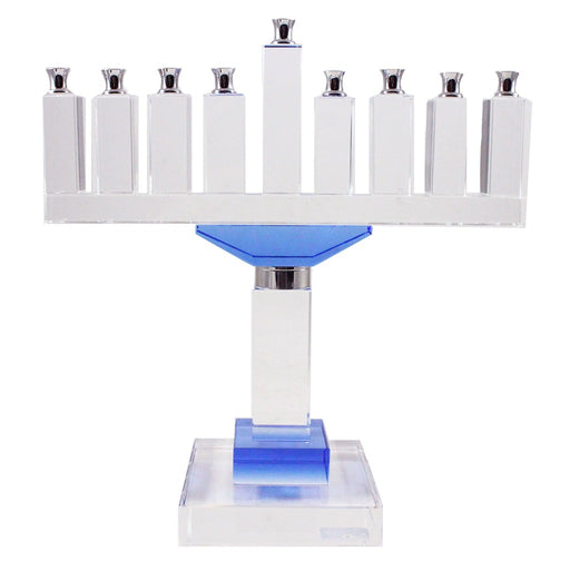 Clear Glass With Blue Accent Menorah - Candlestock.com