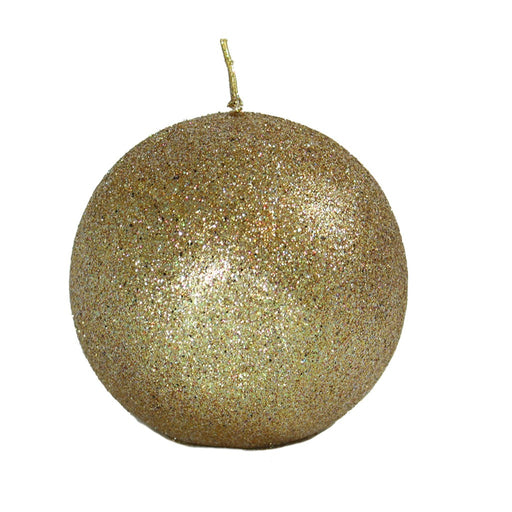 Gold Glitter Ball Candle