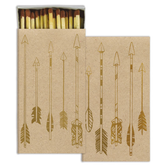 Gold Metallic Arrows Decorative Matches