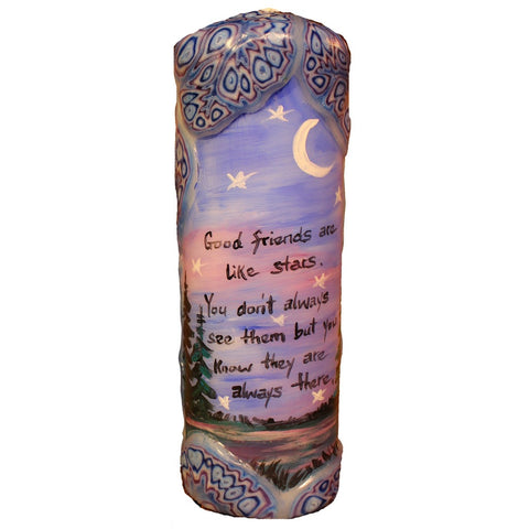 "Quote Pillar Candle - ""Good friends are like stars. You don't always see them, but you know they're always there."" - Candlestock.com"