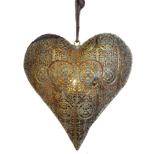 Aqua And Gold Metal Heart Hanging Tea Light Candle Holder - Candlestock.com
