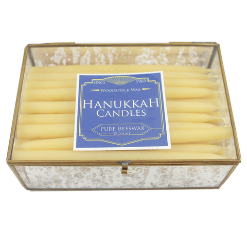 Beeswax Hanukkah Candles Box Set - 45 Count - Candlestock.com