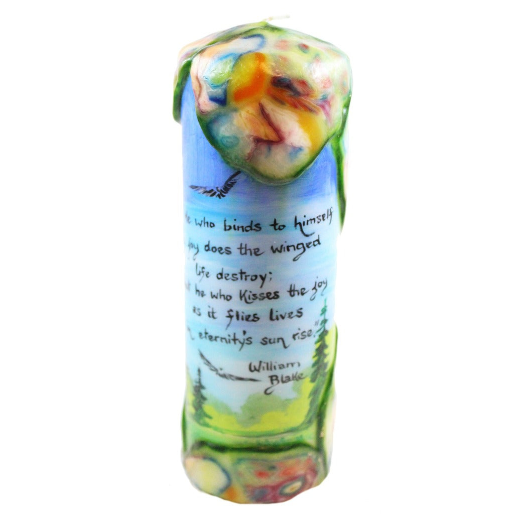 "Quote Pillar Candle - ""He who binds to himself a joy does the winged life destroy; but he who kisses the joy as it flies lives in eternity's sun rise"" William Blake - Candlestock.com"