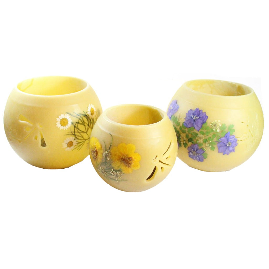 Beeswax Bowl With Flowers And Cutouts Tea Light Candle Holder - Candlestock.com