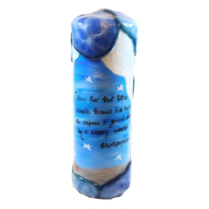 "Quote Pillar Candle - ""How far that little candle throws his beams! So shines a good deed in a weary world."" William Shakespeare - Candlestock.com"