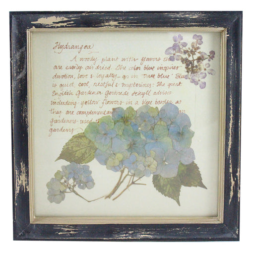 Rustic Wood Framed Hydrangea Pressed Flower Wall Decor