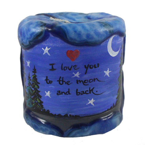 """I love you to the moon and back"" - 4X4 - Candlestock.com"