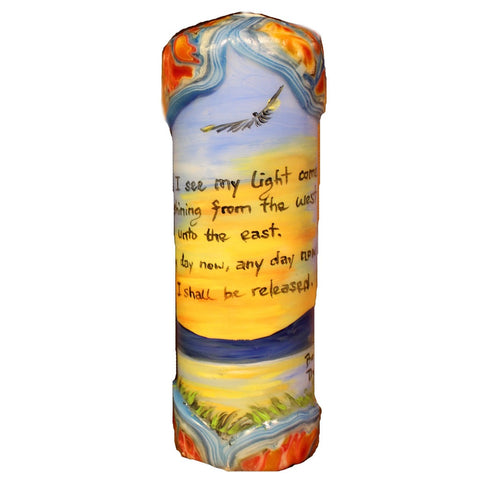 "Quote Candle - ""I see my light come shining from the west unto the east. Any day now, any day now I shall be released"" Bob Dylan"