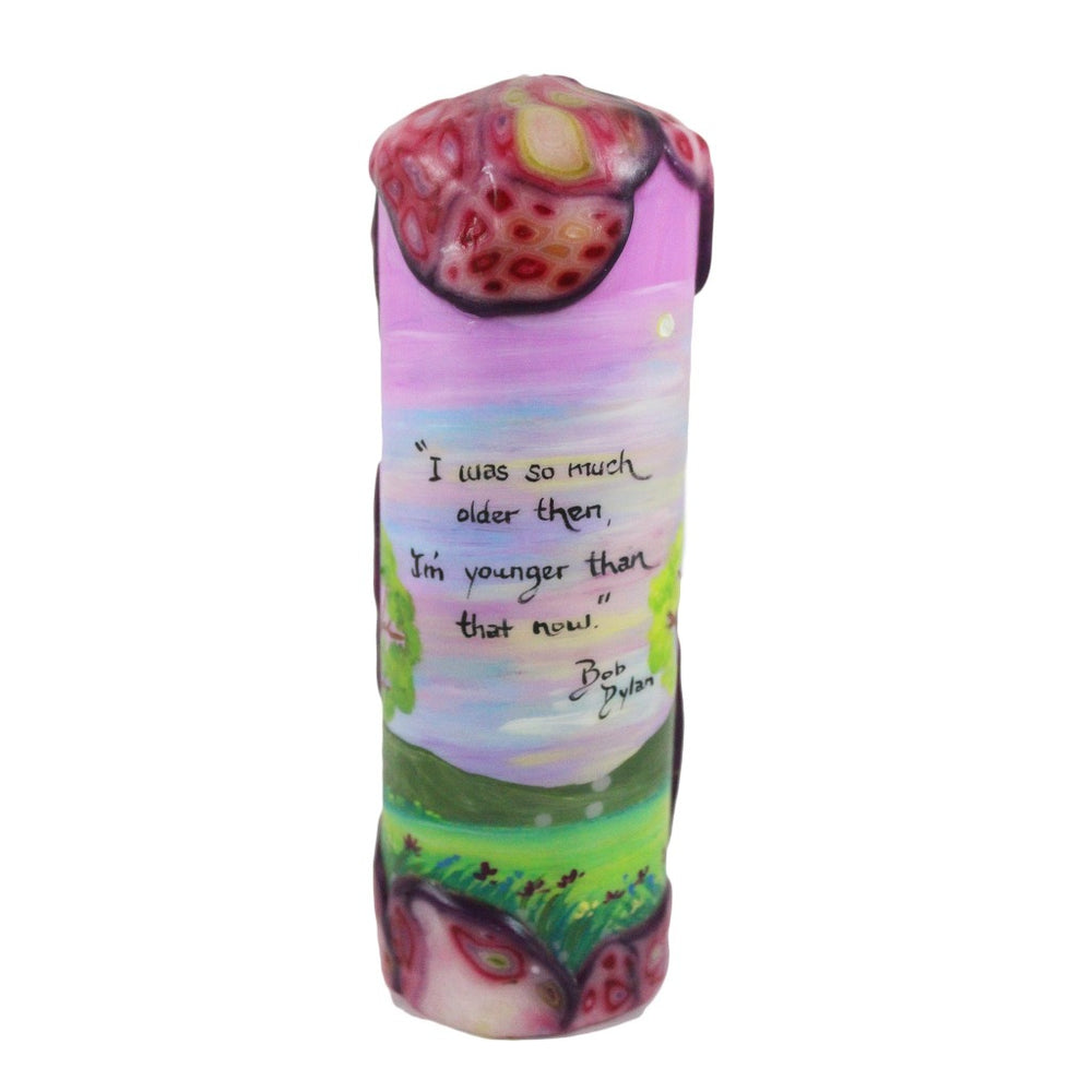"Quote Candle - ""I was so much older then, I'm younger than that now"" Bob Dylan - Candlestock.com"