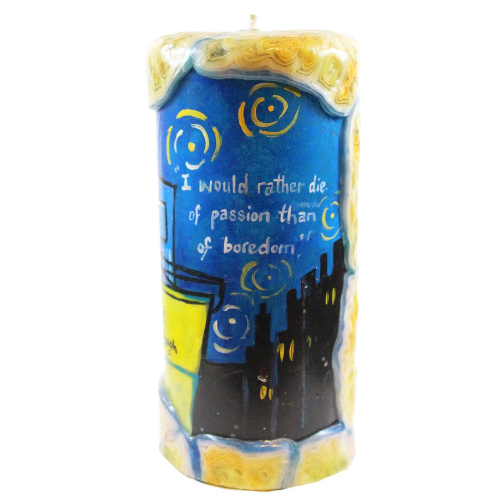 "Quote Pillar Candle - ""I would rather die of passion than of boredom."" Vincent Van Gogh - Candlestock.com"