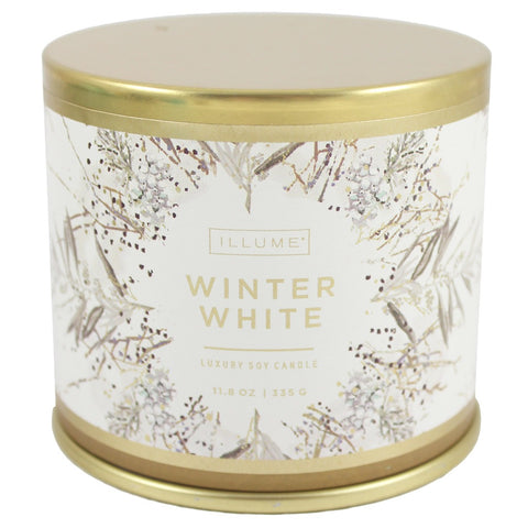Illume Soy Wax Winter White Scented Tin Jar Candle - 11.8 ounce. Winter Scented Candle. Winter Fragrances. - Candlestock.com