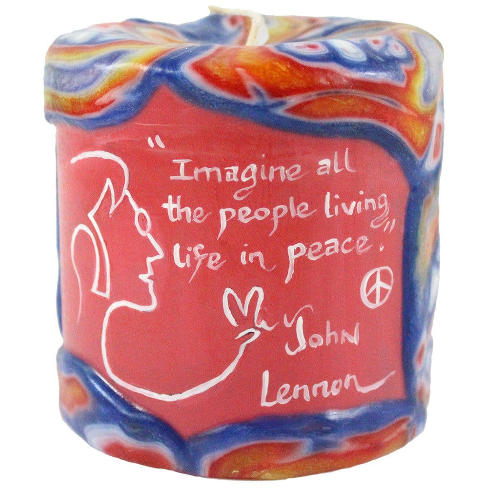 "Painted Veneer Pillar Candle - ""Imagine all the people living life in peace."" - Lennon 4X4 - Candlestock.com"