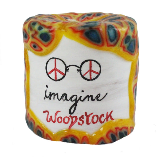 "John Lennon ""Imagine. Woodstock"" Quote Candle - 4X4 - Candlestock.com"