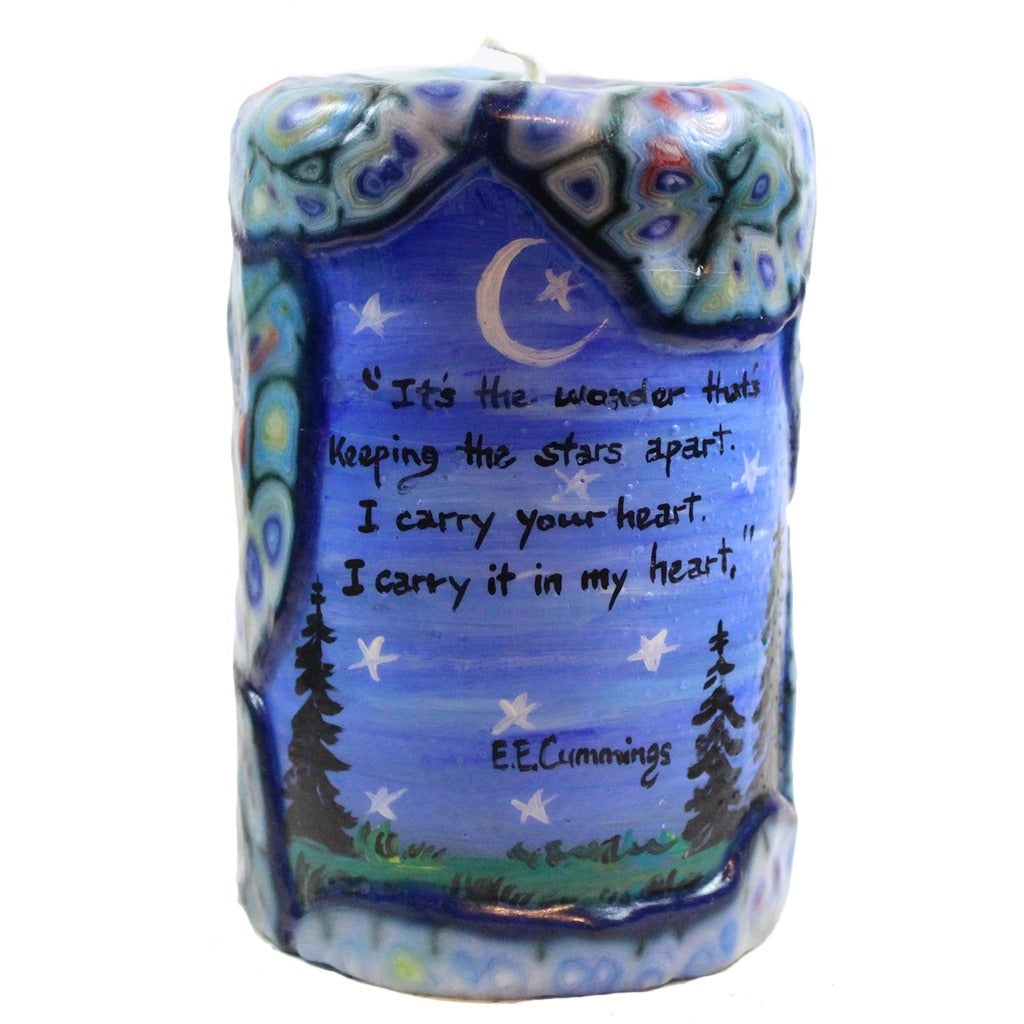 "Quote Pillar Candle - ""It's the wonder that's keeping the stars apart. I carry your heart. I carry it in my heart."" E. E. Cummings"