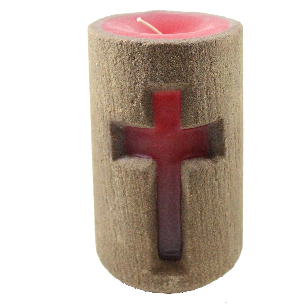 Sand Large Cross Pillar Candle - Candlestock.com
